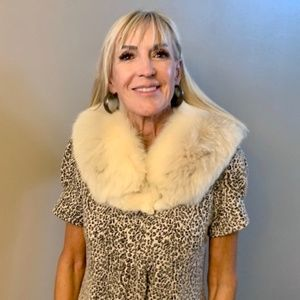 Authentic white fox fur collar wrap scarf style